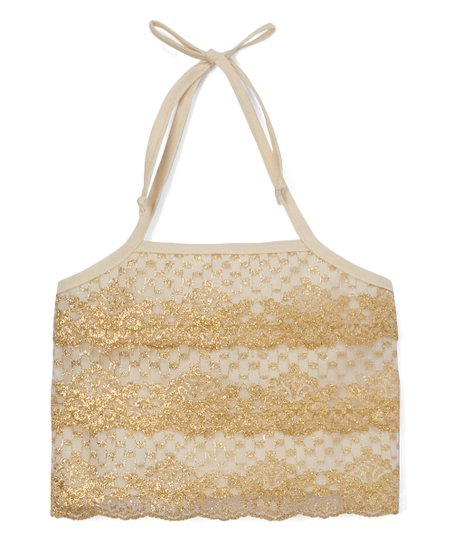 f271bdcc485 Little Miss Fashion Ivory & Gold Lace-Tier Halter Crop Top - Toddler ...