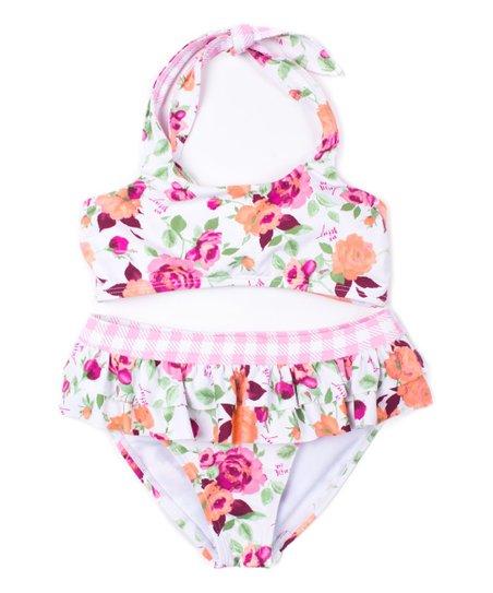 61f561b62974b Betsey Johnson Kids Pink Floral Skirted Bikini - Toddler   Girls ...
