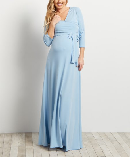 0546e2ffdc7ab PinkBlush Maternity Light Blue Three-Quarter Sleeve Maternity Maxi ...