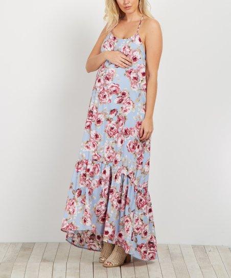 5ddb1d4a5b5 love this product PinkBlush Light Blue Rose Ruffle-Trim Maternity Maxi Dress