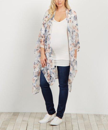 1ef7a1e5637 PinkBlush Maternity Ivory Floral Chiffon Oversize Maternity Kimono ...
