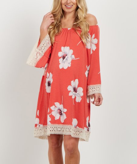 Pinkblush Maternity Coral Floral Crochet Trim Off Shoulder Maternity