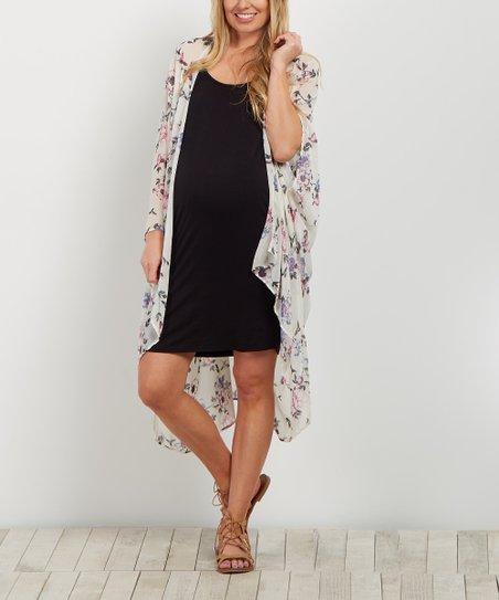 04e15786d75 love this product PinkBlush Ivory Floral Chiffon Oversize Maternity Kimono