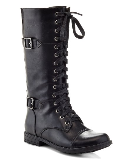 Eddie Marc Kids Black Lace,Up Buckle Boot , Girls