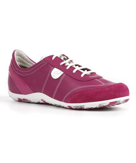 Geox Fuchsia Leather & Suede Vega Lace Up Sneaker | Zulily
