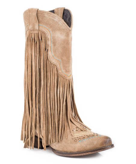 507efe5b678 love this product Tan Leather Fringe Stud-Accent Suede Cowboy Boot - Women