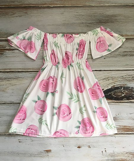 e235ad541182 love this product Pink & White Floral Off-Shoulder Dress - Infant, Toddler  & Girls