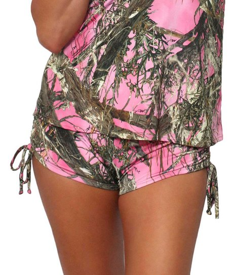 d3b9b0bf2ddfc True Timber Pink Camo Side-Ruched Shorts - Women | Zulily