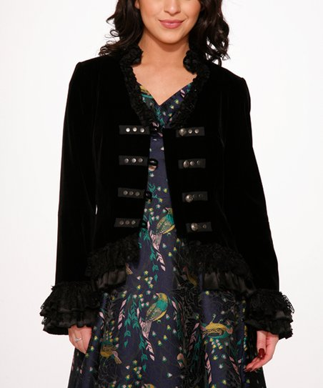 Hearts /& Roses Gloria Jacket in Black Velvet Shipped from US and US Sizes