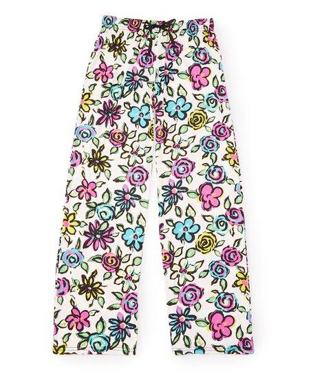 White Pink Floral Hello Mello Lounge Pants Zulily