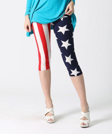 8f76bef9d0fbf8 love this product Red & Blue Stars & Stripes Capri Leggings