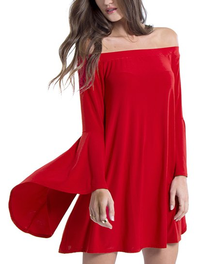 4328af9c9c2 love this product Red Bell-Sleeve Off-Shoulder Dress - Women