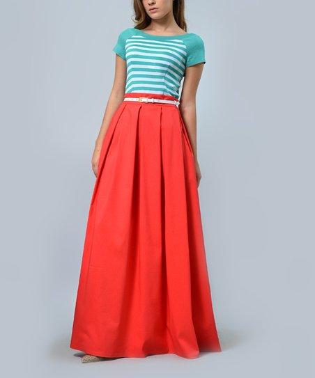 143bf83e07 Lila Kass Coral Belted Pleat Maxi Skirt - Women   Zulily