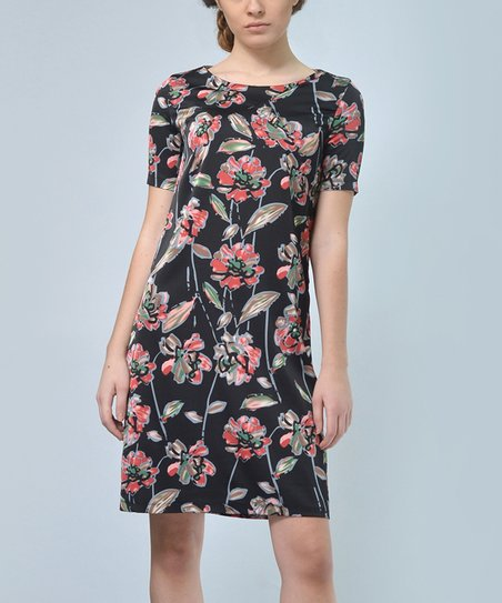 2fd1c02d78e love this product Red   Black Floral Silk Shift Dress - Plus Too