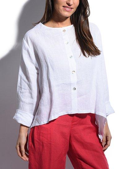 5583166e Bella Blue White Boxy Linen Button-Up - Women | Zulily