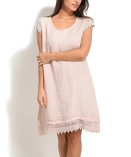 971b51c4188 love this product Pink Linen Lace-Trim Jane Dress - Plus Too