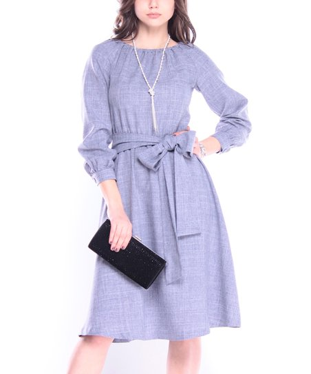 486f9476e466b Laura Bettini Smoky Purple Tie-Waist Off-Shoulder Dress - Women | Zulily