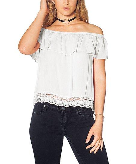 deeaf857af028 Hot From Hollywood White Ruffle Crochet-Trim Off-Shoulder Top - Plus ...