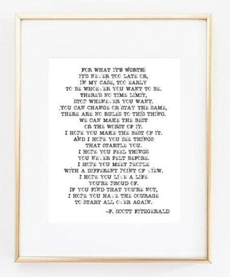 Sweet Water Decor F. Scott Fitzgerald Quote Print