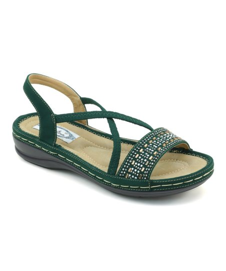 1d386668540 Green Strappy Comfort Sandal - Women