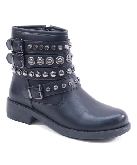f3bd636595c1 Black Studded Triple-Strap Ankle Boot - Women