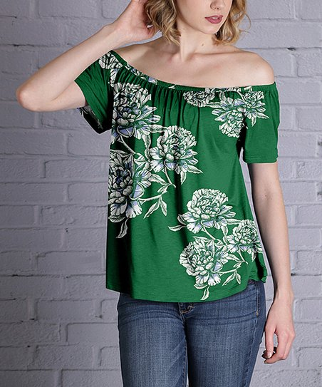 9e4e4c3f838d love this product Green   White Floral Off-Shoulder Tunic - Plus