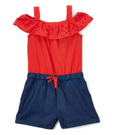4a2a8fcc love this product Zara Fiesta Red Eyelet Shoulder-Cutout Romper - Toddler &  Girls