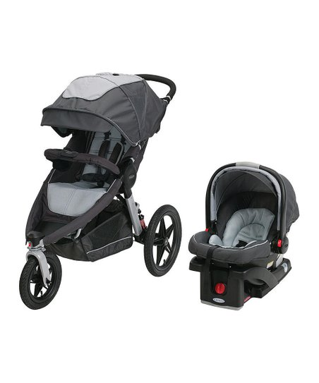 Graco Gray Relay Click Connect Jogging Stroller Car Seat