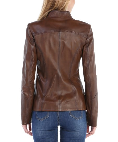 Leather Jacket Raymond Sir Collar Tab Plus Chestnut Tailor xWdorBCe