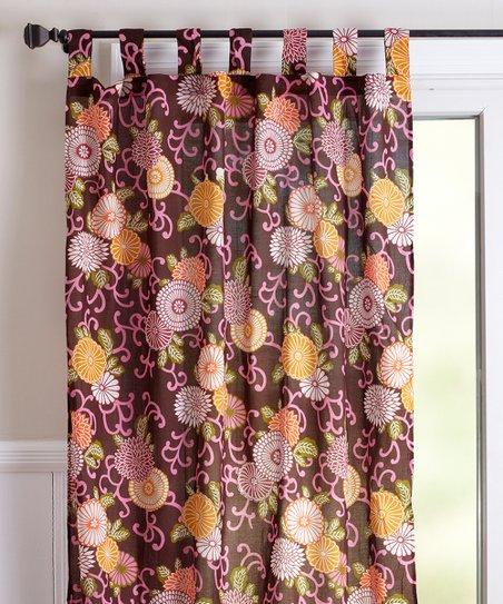 Karma Living Coral U0026 Brown Floral Medallions Curtain