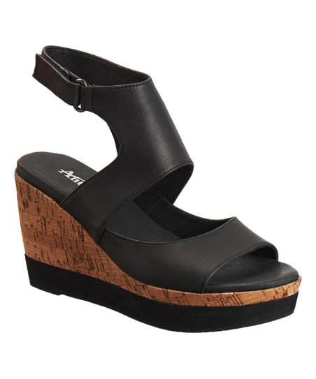 28444b696e1 Antelope Black Leather Cutout Wedge Sandal - Women
