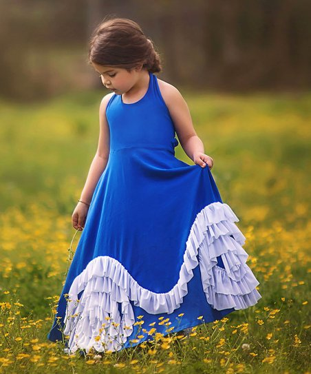 e06a331ef Trish Scully Child Navy & White Helena Maxi Dress - Girls | Zulily