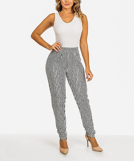 Moda Xpress Black Stripe Skinny Leg Jumpsuit Zulily
