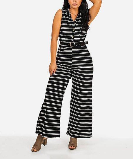 1a48c7f280a4 Moda Xpress Black Stripe Belted Wide-Leg Jumpsuit