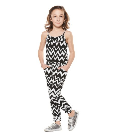 c1afa81f538b love this product Black   White Zigzag Jumpsuit - Girls
