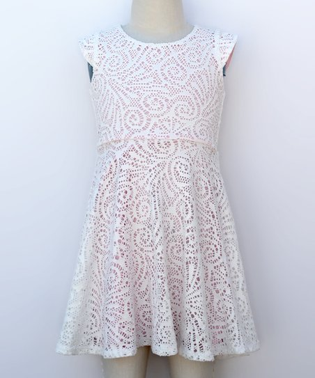 love this product Ivory   Pink Lace Skater Dress - Girls 93da459e5