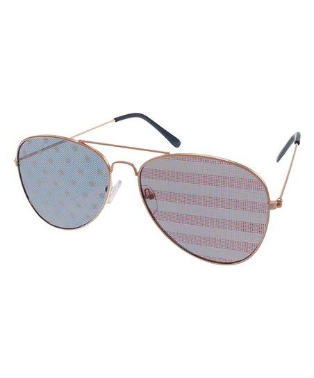 9f7d87628fdb4 Lunette Eyewear Gold Stars   Stripes Aviator Sunglasses