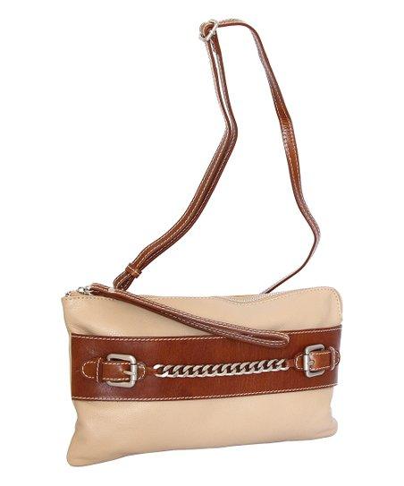 9e5a2cc7b Nino Bossi Handbags Sand Clarisse Leather Convertible Crossbody | Zulily