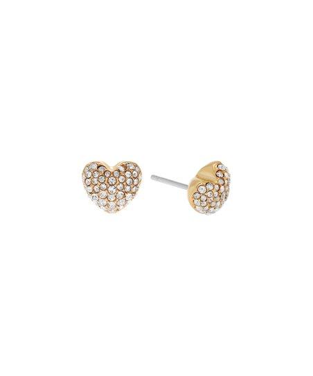 f3a5b3c9c0cab Michael Kors Crystal   Goldtone Pavé Heart Stud Earrings