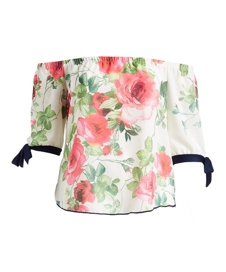 a9c051fe8ae Poliana Plus White & Pink Floral Off-Shoulder Top - Plus | Zulily