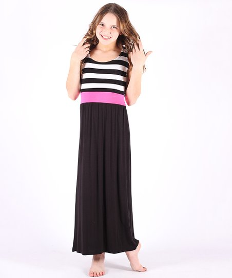 a3d316f65d2 Lori   Jane Black   Pink Stripe Contrast Maxi Dress - Girls