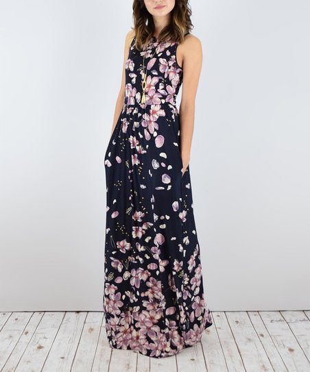 484fa5463a2 egs by éloges Black   Pink Floral Pocket Sleeveless Maxi Dress ...