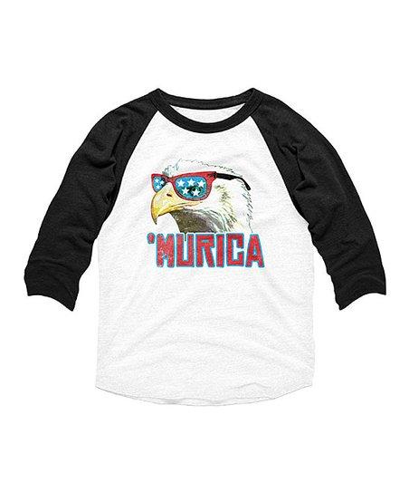 c939e555 love this product White & Black 'Murica' Eagle Raglan Tee - Toddler & Kids