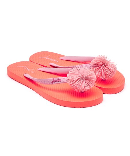 5f592f57a1f3 Joules Bright Orange Pom Flip-Flop - Girls