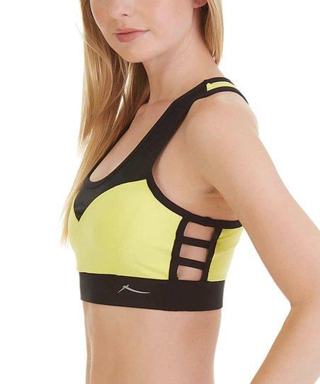 3a18132a44e35 love this product Lemon   Black Side-Strap Sports Bra
