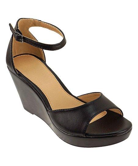 7379ca27cdb Agape Black Pamela Ankle-Strap Wedge Sandal - Women