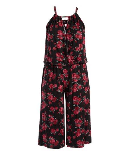 c9642f1b55d Red   Black Floral Gaucho Jumpsuit - Plus