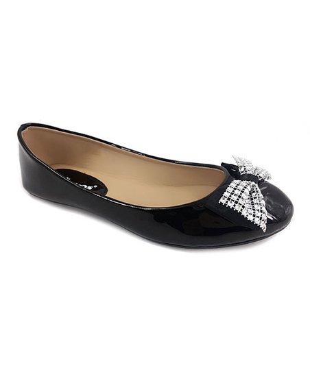 8954feda8b2d Ositos Shoes Black Sparkle Bow Ballet Flat - Women