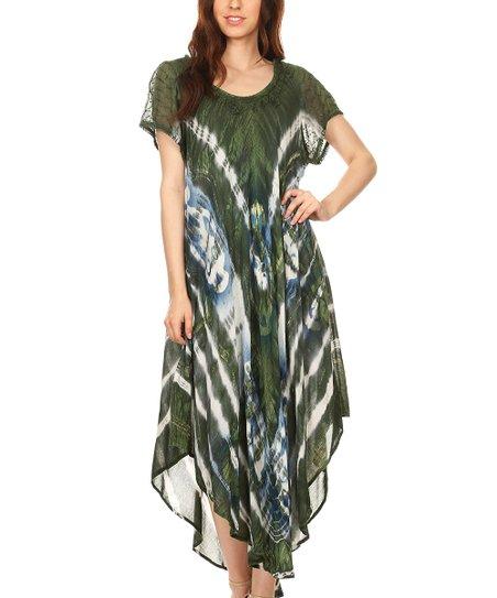 1812d64609 love this product Dark Green Semisheer Batik Embroidered Maxi Dress