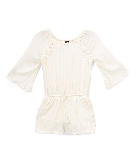 594500b7ba7 love this product Cream Bell-Sleeve Romper - Girls